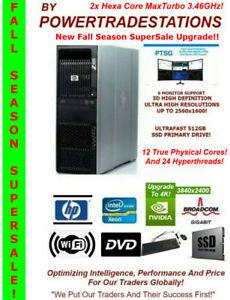 HP Z600 Trading Computer 6Mon Xeon12Core/24HThreads 512SSD 3TBHDD 48GBRAM W10P