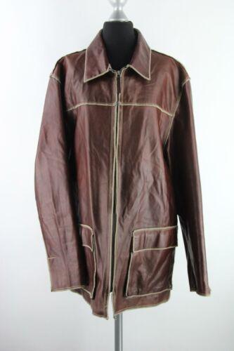 Gallotti señores chaqueta talla 50/m 100% cuero marrón made in italy impecable