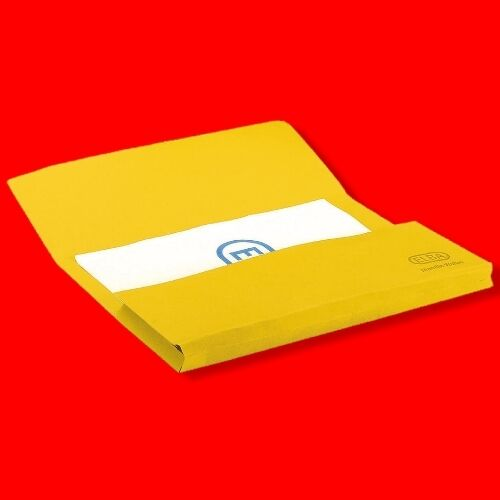 YELLOW DOCUMENT WALLETS BOX 50X 285GSM FILING FOLDERS CARD FOOLSCAP/A4 FILES