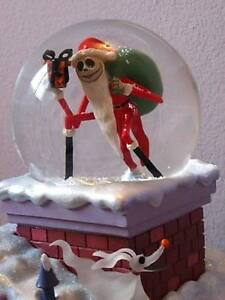 image is loading nightmare before christmas disney globe rooftop santa - Nightmare Before Christmas Snow Globes