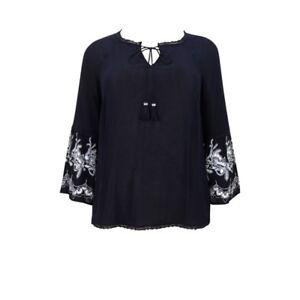 Evans-ladies-blouse-top-plus-size-14-16-18-20-22-24-26-navy-bell-sleeve-boho