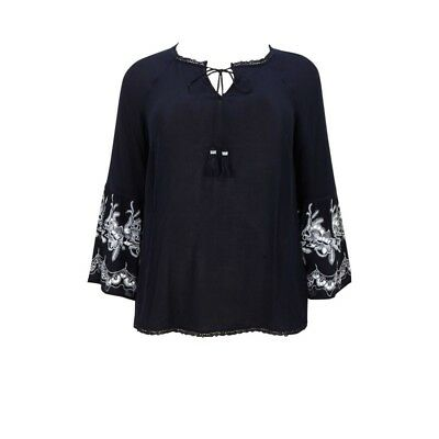 NEW ex Evans NAVY BLUE Bell Sleeve BOHO Tunic Top sizes 14 16 18 20 22 24 26