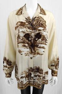 ESCADA-100-Silk-Blouse-Top-Elephant-Print-Size-40-US-10-Large