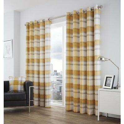 Balmoral Ochre Yellow/Grey Check Tartan 100% Cotton Fully Lined Eyelet Curtains