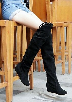 Korean New Women's Faux Suede Pull On Hidden Wedge Over The Knee High Boots