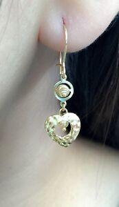 18k-Solid-Yellow-Gold-Heart-Long-Dangle-Leverback-Earrings-Diamond-Cut-2-14Gram