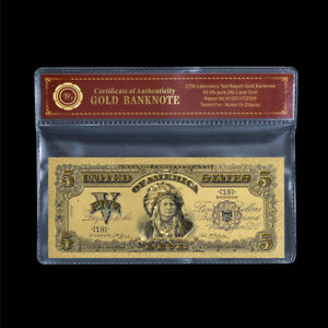 WR-American-Indian-Chief-1899-5-Old-US-World-24K-GOLD-Banknote-Collection-COA