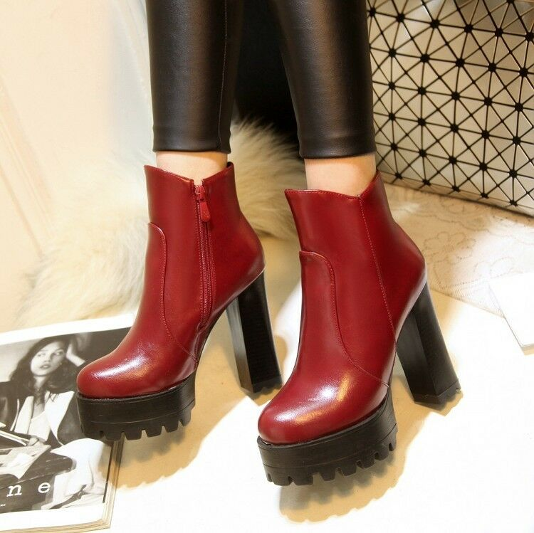 Womens Platform Retro Ankle Boots Creeper Super High Heel Stiletto Knight Boots
