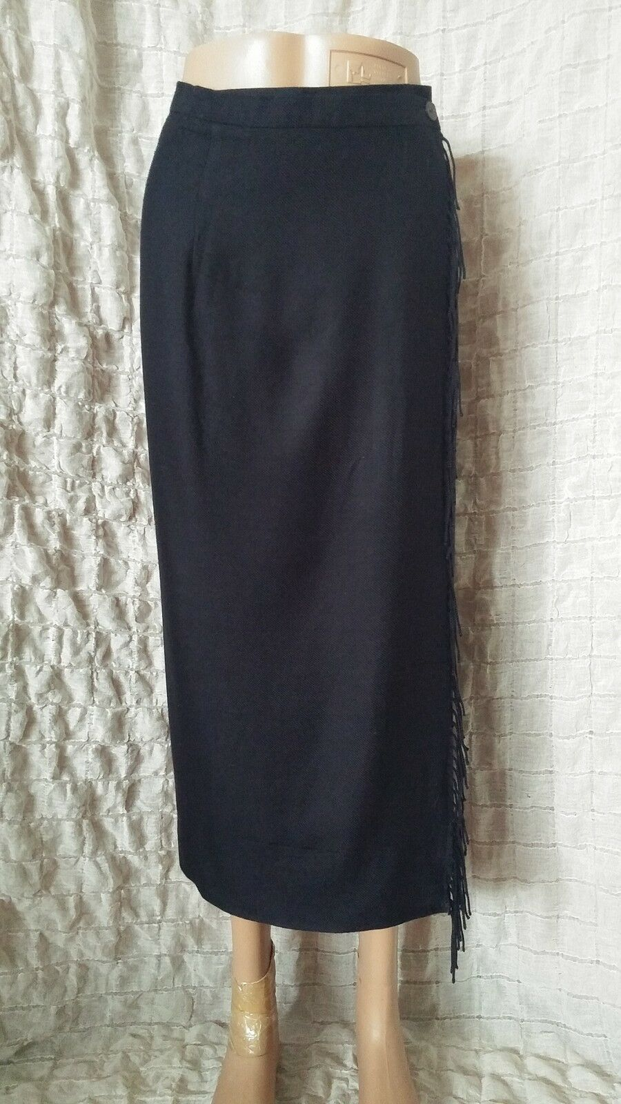 IRIS VON ARNIM  full wrap navy high waisted fringe skirt size S