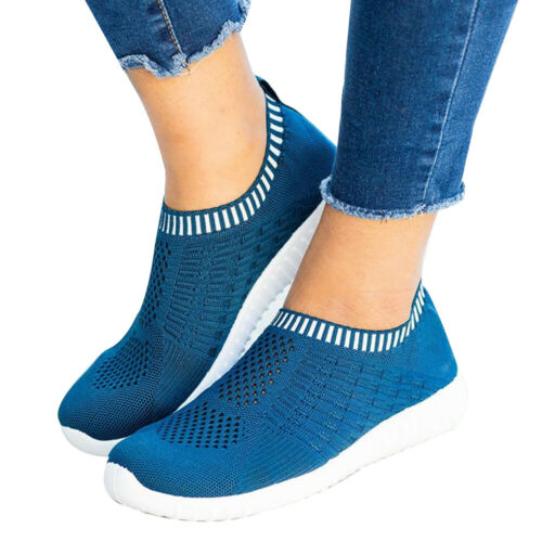 NEW Women Ladies Mesh Comfy Shoes Slip On Gym Sport Running Sneakers Trainers