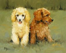 Original Oil painting -  2 poodle dog / puppys by UK artist j payne