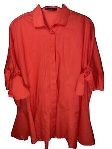 Carolina Herrera Womens Short Sleeve Button Down Tunic Blouse Top Red Size XS