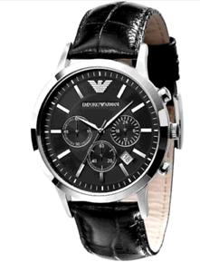 Emporio-Armani-Classic-Black-Leather-Silver-Quartz-Analog-Men-039-s-Watch-AR2447-USA