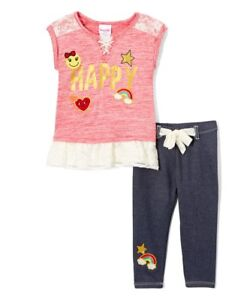 NWT Nannette Fish Baby Girls Yellow Ruffle Tunic Top Blue Leggings Outfit Set