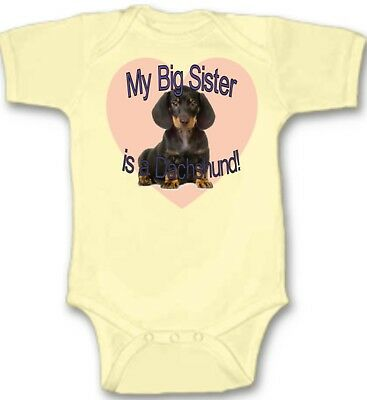 my sister is a dachshund baby one piece dog pet infant bodysuit