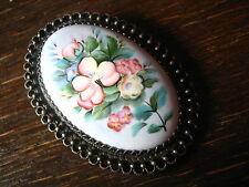 reizende antike Brosche Emaille Blumen Blumenbukett Emailmalerei Silber Fassung
