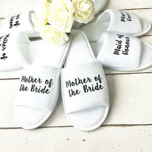 9eaf29caf48 Details about Personalised Bridal Party Spa Slippers Wedding Bride  Bridesmaid Dancing Feet Hen