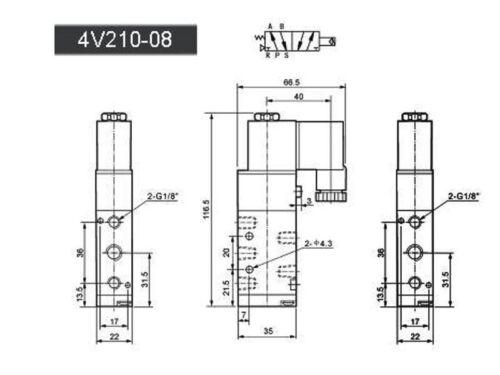 """1x 4v210-08 5ports2position único Solenoide neumática de válvula de aire de 1//4 /""""Bspt Ac220v"""