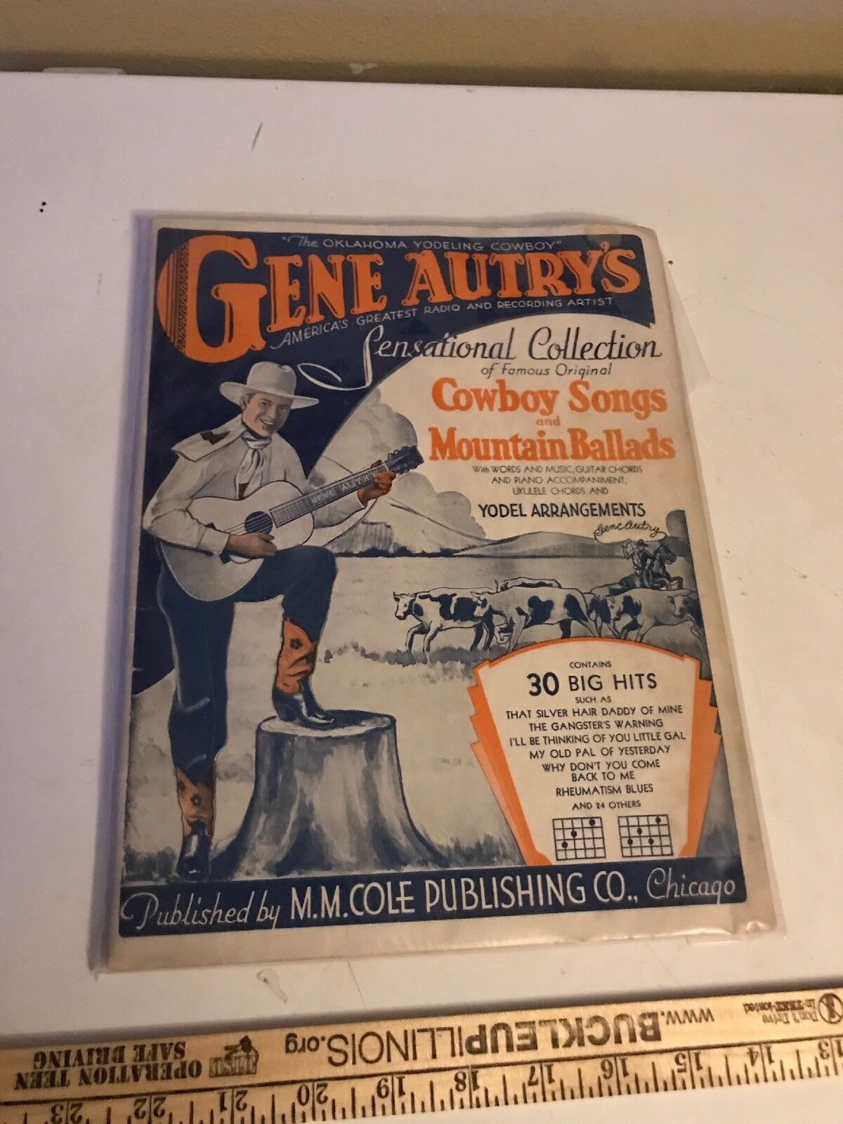 Gene Autry Cowboy Sensational Collection Vintage1932 Sheet Music Book Very Clean