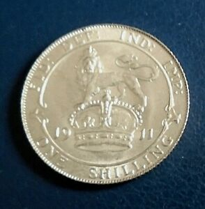 1911-King-George-V-Shilling-925-Argent-Tres-haut-de-qualite-superieure