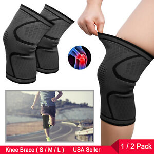0702fbb11e Compression Knee Sleeves Non-Slip Knee Brace for Men Women Running ...