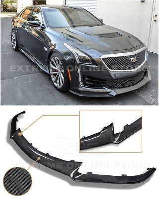 For 16-Up Cadillac CTS-V CARBON Package PRIMER BLACK Front Bumper Lip Splitter
