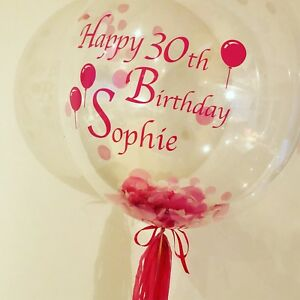 Image Is Loading Happy Birthday Personalised Helium Filled Bubble Balloon In
