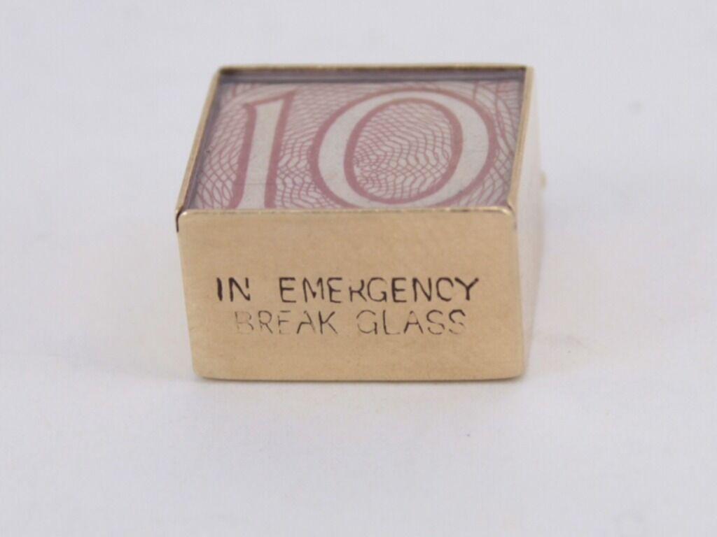 VINTAGE dieci SHILLING nota nota nota di emergenza 9ct oro Charm Regalo Ideale 375 W55 f648ef