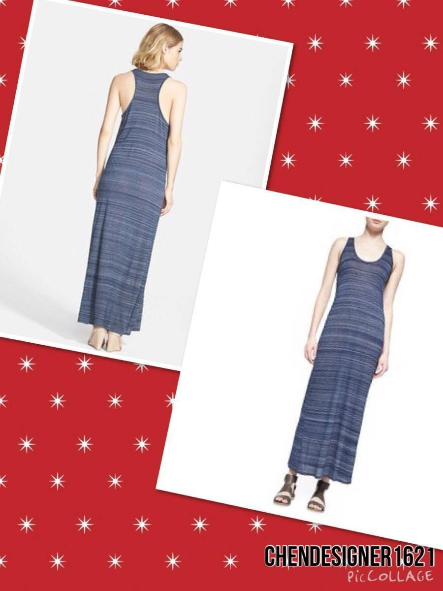 Vince Größe L US Space-Dyed Maxi Dress in pure fine cotton New