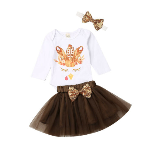 Thanksgiving Kids Baby Girl Clothes Cotton Top Romper Dress Party Outfit Clothes