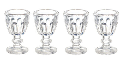 Dolls House Miniatures Crystal Glasses 4 Pack Miniature Cups 1;12 Scale