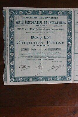 Bon à Lot Exposition Internationale Des Arts Décoratifs & Industriels Paris 1925 úLtima TecnologíA
