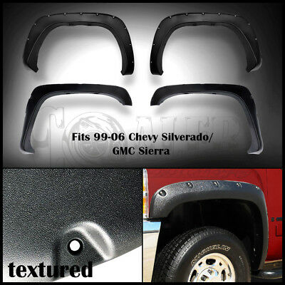 Pocket Fender Flares Fit Chevy Silverado//GMC Sierra 1500 1999-2006 Textured
