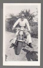 [J58170] Circa 1940's PHOTOGRAPH U.S. SERVICE MEMBER POSING ON MOTORCYCLE