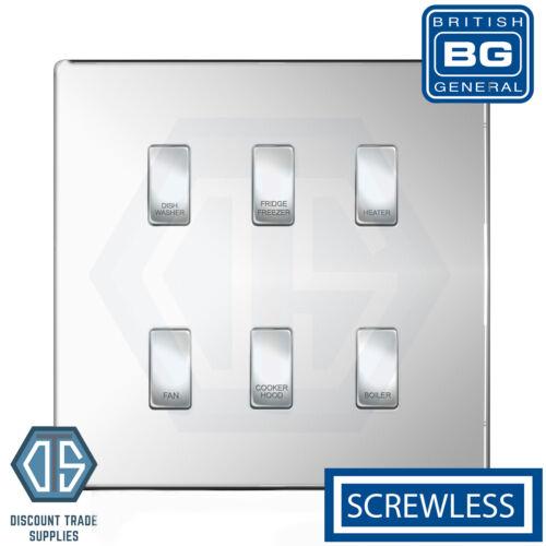 BG Chrome Poli Screwless Custom Grille Switch Panel Kitchen Appliance 6 Gang