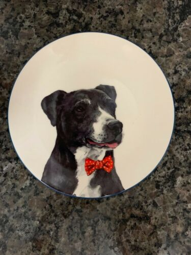 NEW with tag Sleigh Bell Bistro very merry 7 in plate dog bow tie