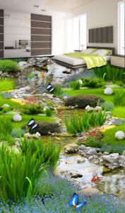 3D Mariposa Jardín Piso impresión de parojo de papel pintado mural 5 5D AJ Wallpaper Reino Unido Limón