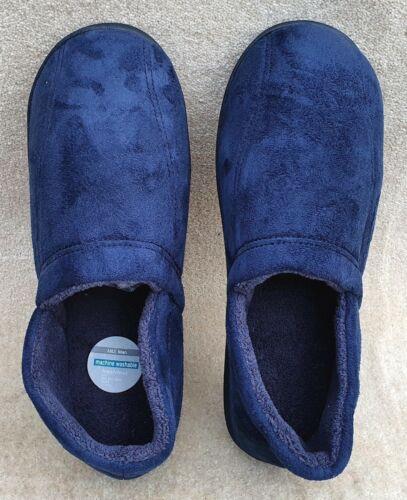 Marks /& Spencer Homme Doux Velours Bleu Marine Pantoufles Semelle en Caoutchouc UK 12 EU 47