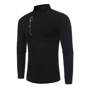 Mens-Long-Sleeve-Shirt-Blouse-Cotton-Slim-Fit-Casual-Tee-Tops-Shirts-Fashion