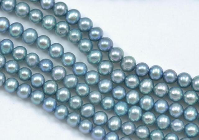 4-5mm Rosa Blau Rund Kartoffel Frischwasserperlen Perlen AA