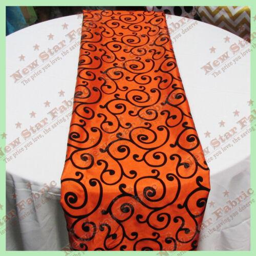 "14/"" X 108/"" Orange Black Table Runners  Swirl Flocking Taffeta 4 Pcs"