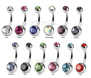 Belly Bar Double Gem Naval Ring Belly Button Anodized Surgical Steel