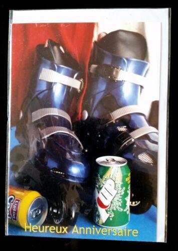 D9) Carte Heureux Anniversaire Rollers, Soda + enveloppe