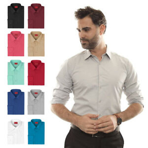 Men-039-s-Button-Up-Long-Sleeve-Slim-Fit-Stretchy-Cotton-Spandex-Dress-Shirt