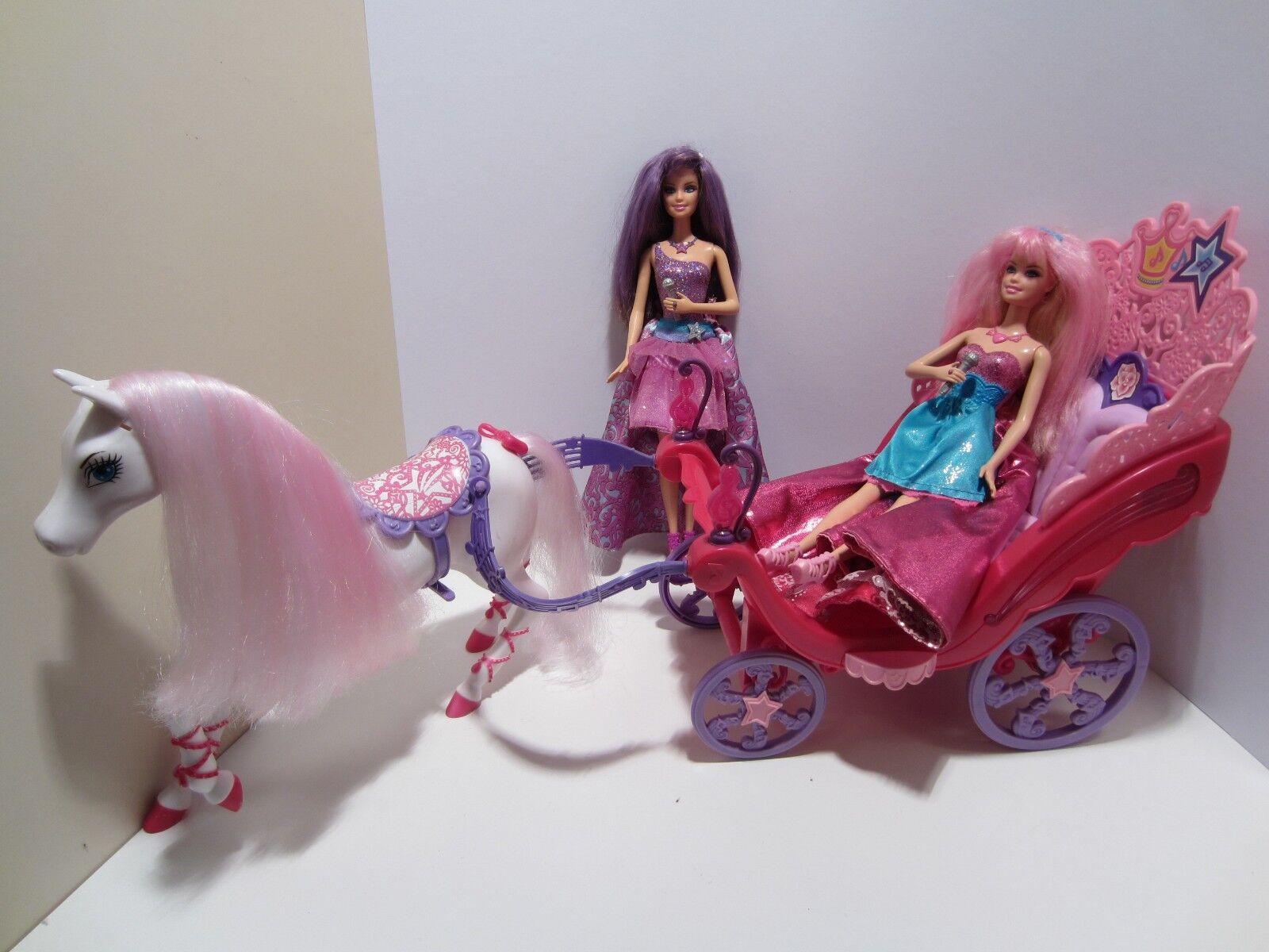 MATTEL Barbie Die Prinzessin und der Popstar, Musik Kutsche mit Tori und Keira