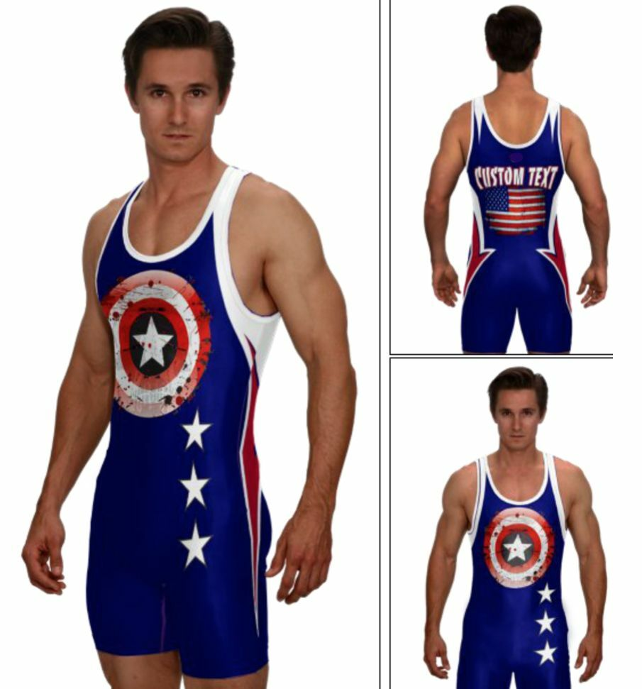 Distressed superhero wrestling singlet in navy, includes custom text