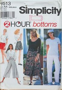 Simplicity-Sewing-Pattern-Split-Skirts-Trousers-4-12-XXS-S-9513-2-Hour-UnCut