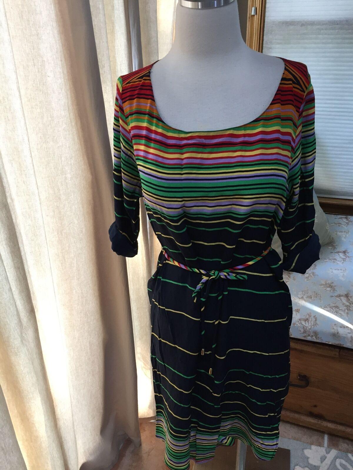 c0ee71b62d73e Amanda Uprichard 100% Silk colorful Striped Tie Waist Dress Small Petite EUC