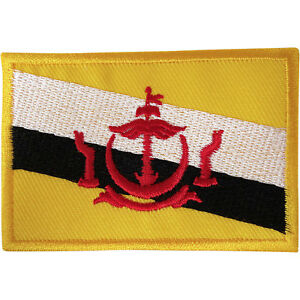 Brunei-Flag-Patch-Iron-Sew-On-Embroidered-Badge-Embroidery-Applique-Malay-Melayu