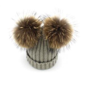 70abf64b44e Real Mink Fur Pompom Hat Women Winter Caps Knitted Wool Cotton Hats ...
